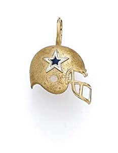 14k Enamel Dallas Cowboys Helmet Pendant - JewelryWeb