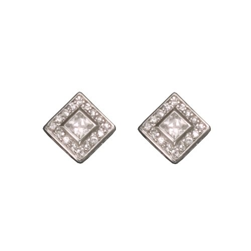 Jolenta's 925 Sterling Silver Stud Earrings Sparkling Pave Set Diamond Shaped Cubic Zirconia - Incl. ClassicDiamondHouse Free Gift Box & Cleaning Cloth