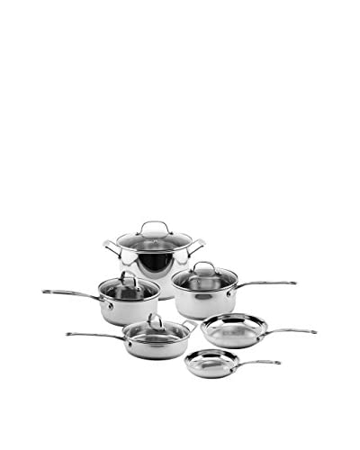 BergHOFF EarthChef Premium Copper Clad 10-Piece Cookware Set with Glass Lids, Silver As You See