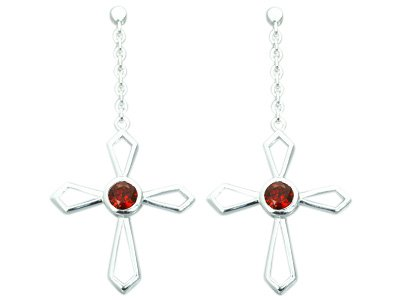 1.25 Ct.T.W. Genuine Round Garnet in Sterling Silver Rhodium Finish Cross Earrings