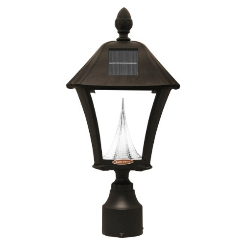 Gama Sonic Baytown Solar Outdoor Led Light Fixture, 3-Inch Fitter For Post Mount, Black Finish #Gs-106F-B