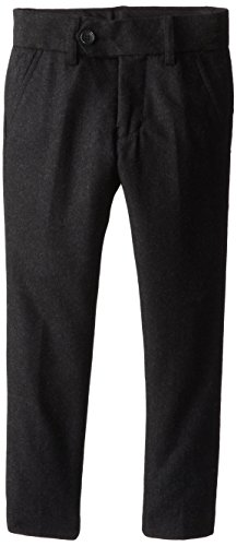 Isaac Mizrahi Little Boys' Fit Wool Solid Pant, Charcoal, 3 front-1026133