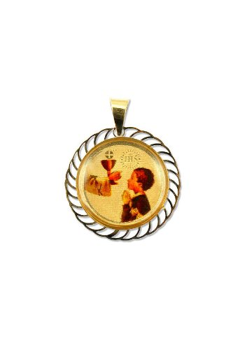 14k Yellow Gold, Religious Pendant Charm with Boy Communion 18mm Wide
