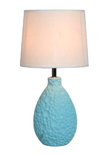 Simple Designs LT2003-BLU Texturized Ceramic Oval Table Lamp, Blue