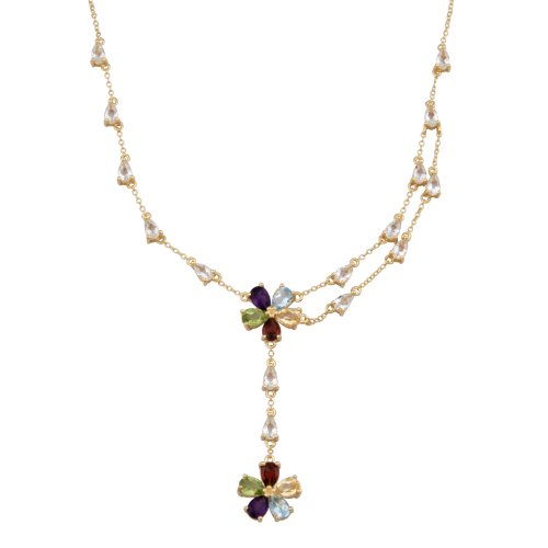 18k Yellow Gold Plated Sterling Silver Multi-Gemstone Flower Y Necklace, 17