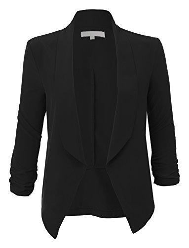 RubyK Womens Lightweight Ruched 3/4 Sleeve Open Front Blazer Jacket RBKWJC1174(BLACK)XX-Large