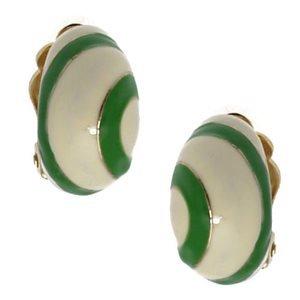 Bunnie Gold Cream Green Clip On Earrings