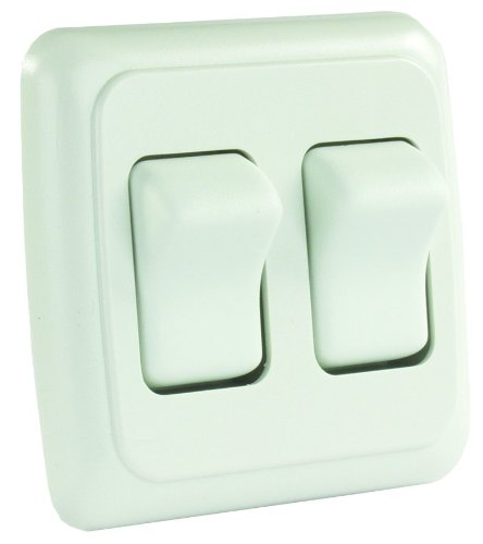 JR Products 12015 White Double SPST On-Off Switch