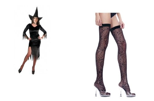 Bundled Set Women's Witchy Costume in Crushed Panne Velvet with Spider Stockings
