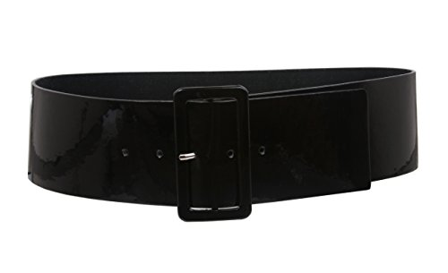 Ladies High Waist Patent Leather Wide Fashion Square Belt Color: Black Size: S/M - 32