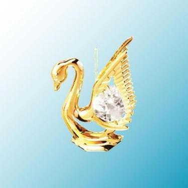 24k Gold Swan Ornament – Clear Swarovski Crystal