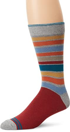 PACT Men's Crew Sock, San Francisco Red Stripe, One Size