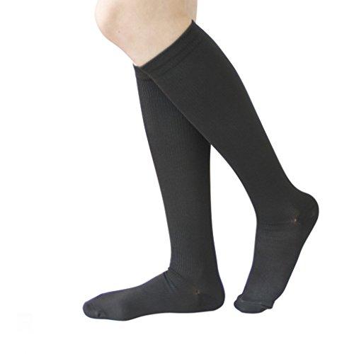 6 Pairs Knee High Graduated Compression Socks For Women and Men - Best Medical, Nursing, Travel & Flight Socks - Running & Fitness - 15-20mmHg (S/M, Black)