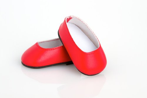 Red Leather Dress Shoes - Shoes for 18 inch Dolls - 1