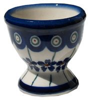 Polish Pottery Egg Cup Set Of 4 From Zaklady Ceramiczne Boleslawiec #203-166A Floral Peacock Pattern