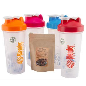 Sundesa 28Oz Blender Bottle 4 Pack (Orange, Turquoise, Red, Pink) With Liquid Planet Cocoa Sample