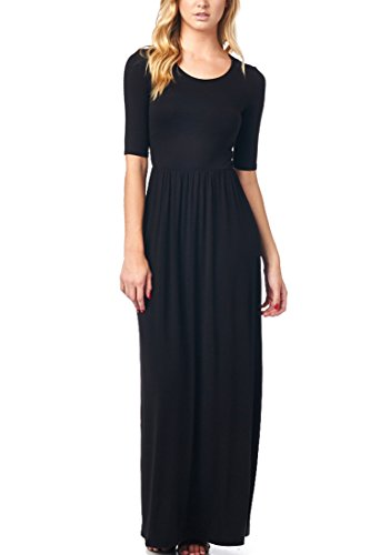 82-Days-WomenS-Rayon-Span-Jersey-Maxi-Long-Dress-with-Elastic-Waistband-Solid