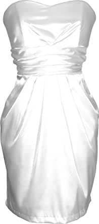 Strapless Satin Bridesmaid Dress LBD With Pockets, Small, White
