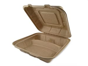 World Centric Wheat Straw/Bagasse Compostable Take Out Clamshells 9 by 9 by 3 - Three Compartment, 300 ct