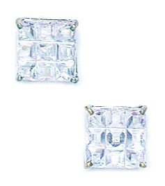 14k White Gold 7x7mm 9 Segment Square CZ Basket Set Earrings - JewelryWeb