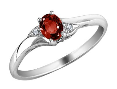 Garnet Ring with Diamonds in 10K White Gold, Size 4.5