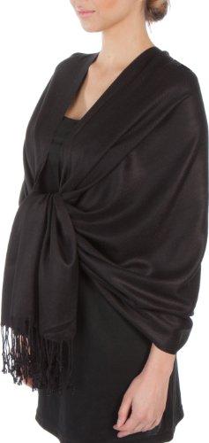 "Sakkas 78"" x 28"" Silky Soft Solid Pashmina Shawl / Wrap / Stole - Black"