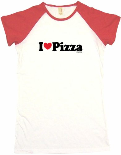 I Heart Love Pizza Women'S Tee Shirt Small-White/Red Babydoll