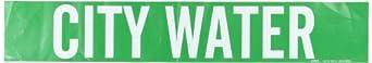 "Brady 7054-1HV 4"" Height, 24"" Width, B-946 High Performance Vinyl, White On Green Color Self-Sticking Vinyl Pipe Marker, Legend ""City Water"""