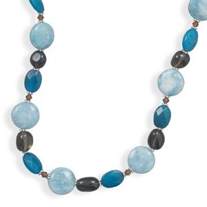 Blue Quartz, Agate, and Crystal Beaded Necklace Sterling Silver Made in the USA