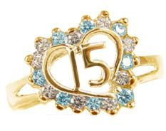 Yellow Gold Plated, Heart Design 15 Anos Quinceanera Ring With Brilliant Lab Created Gems