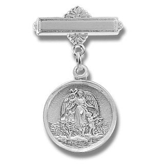 Small Round Guardian Angel Pin Sterling Silver - Boxed