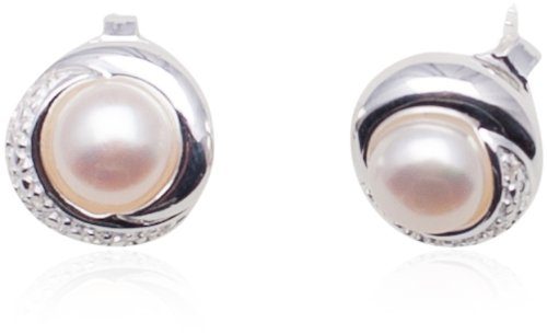 Sterling Silver Simulated Pearl and Cubic Zirconia Studs