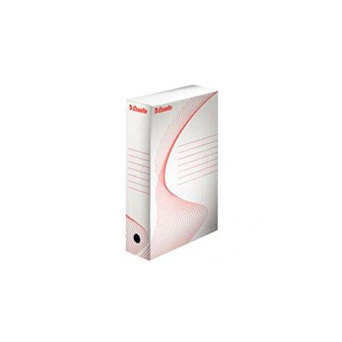 Esselte 128003 Scatole Archivio, Dorso 8 cm, Confezione 10, Bianco/Rosso