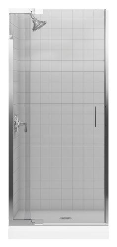 KOHLER K-702010-L-SH Purist Frameless Pivot Shower Door with Clear Glass, Bright Silver