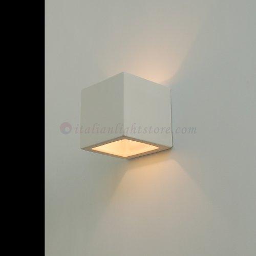 Applique Lampada A Parete Cubetto Decorabile In Ceramica Colorabile Verniciabile- Linea Ceramica- Illuminazione Interni