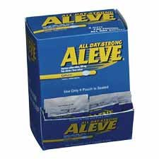 Acme United Corporation Products - Aleve, Single Dose Med Pack, 50/BX - Sold as 1 BX - Aleve temporarily relieves minor aches and pains with the strength to last all day. Aleve contains naproxen sodium for fast, effective pain relief. Tablets come individ