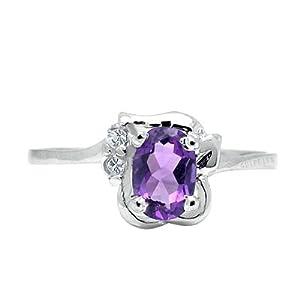 100% Genuine Nature Amethyst CZ Diamond 925 Sterling Silver Platinum Plating Ring-SizeT