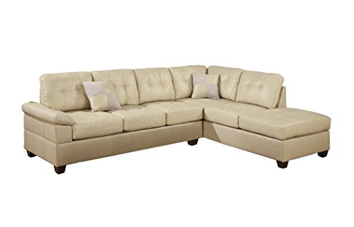 Poundex bobkona randel bonded leather 2 piece reversible for Sectional sofa pieces sold separately