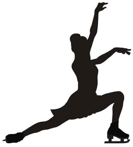Figure Skating Wall Decal - 18 Inches H x 16 Inches W - Peel and Stick Removable Graphic