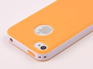 Pandamimi Dexule Orange White Fashion Sweety Girls TPU , PC 2-Piece Style Hard Case Cover for iPhone 4 4S with Screen Protector
