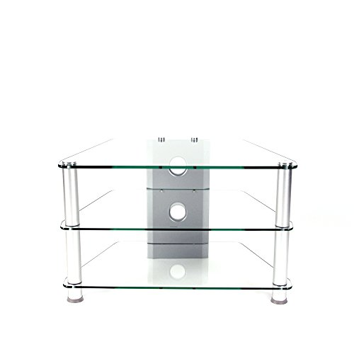 RTA Home And Office Glass Aluminum 32 Inch And Below Clear Tempered Glass Plasma/Lcd Tv Stand With Wire Management