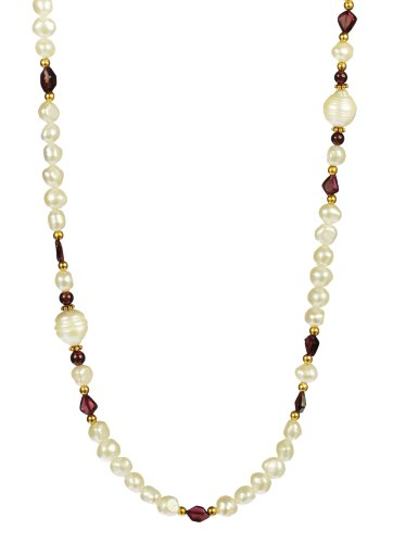 Round and Honeycomb Garnet with Baroque and Ringed White Freshwater Cultured Pearls Gold Over Silver Endless Necklace 38