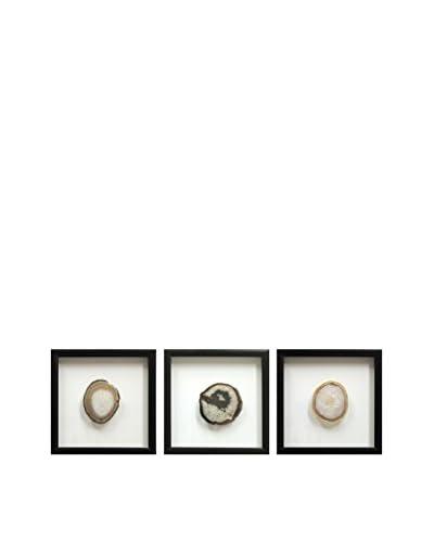 Set of 3 Black Floating Frames with Geodes, Natural