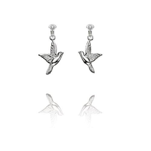 Basics Sterling Silver Bird Clip On Earrings