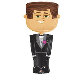 "Groom Tuxedo Shaped 50"" Wedding Mylar Foil Balloon Party Shower"
