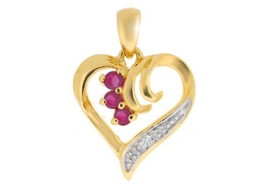 9ct Yellow Gold 0.13ct Ruby  &  Diamond Heart Pendant