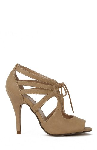 Delicious Fruity-S Peep-Toe Cutout Lace-Up Keyhole Sandal - Taupe Nubuck PU