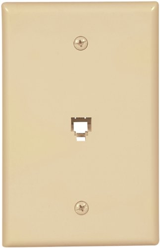 Cooper Wiring Devices 3533-4V-L Flush Mount Mid Size Wall Plate With Telephone Jack 4-Conductor, Ivory