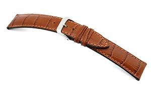 RIOS1931 Louisiana - Correa para reloj (piel de ternero, aspecto piel de cocodrilo, pasador de 19 mm), color marrón marca RIOS 1931
