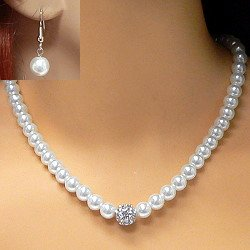 Classic White Necklace Made With Swarovski Elements Crystal Pearls and Earrings Set - 17